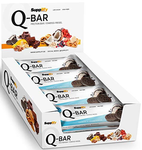 Protein Riegel Lowcarb & Low Fat Cookies & Cream – Whey Eiweißriegel glutenfrei ohne Zuckerzusatz 12 x 60g Q-Bar Proteinriegel Low Carb