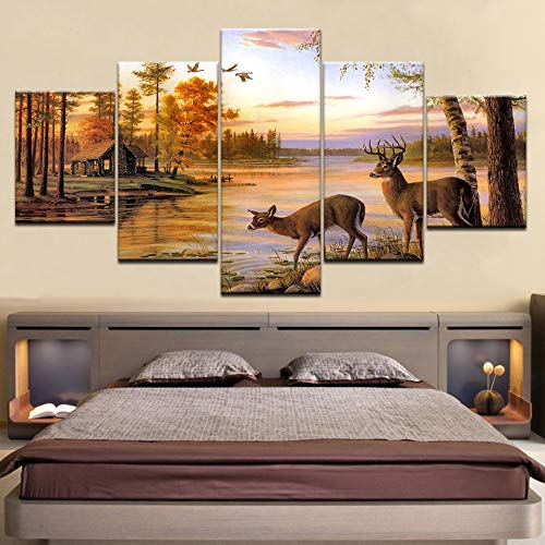 yiyitop Wandkunst Leinwand Wohnkultur Wohnzimmer HD-Druckplakat 5 Elch gemalt Stier Elch bei Sonnenuntergang Bild
