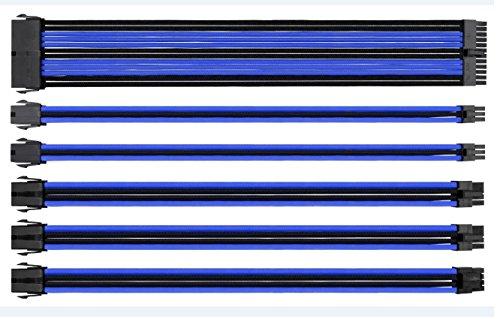 Eagle Warrior - Cables de extensión para fuente de poder (Azul con negro)