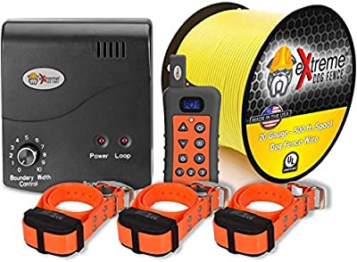 Electric Dog Fence + Remote Trainer - 3 Dog / 1000' of 20 Gauge Underground Dog Fence Wire (Up to 1 Acre) - Dual Solution to Contain and Train Your Dog(s) with a Single Collar