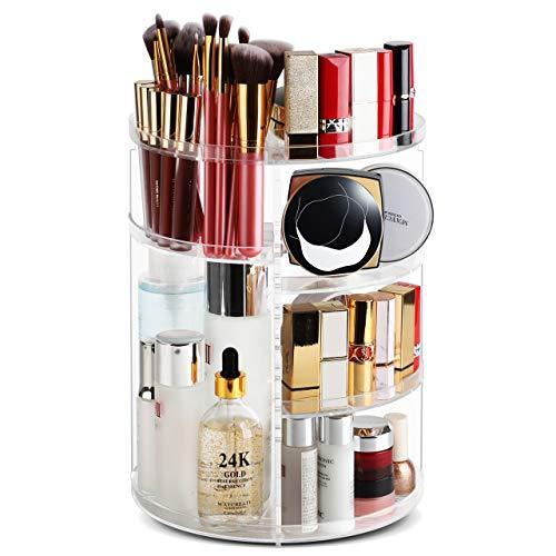 Syntus 360 Rotating Makeup Organizer, Acrylic DIY Adjustable Bathroom Makeup Carousel Spinning Holder Rack, Large Capacity Cosmetics Storage Box Vanity Countertop, Fits Makeup Brushes Lipsticks, Clear