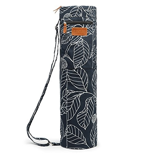ELENTURE Full-Zip Exercise Yoga Mat Carry Bag with Multi-Functional Storage Pockets, Black Leaf