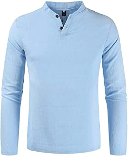 WSPLYSPJY Mens V Neck Cotton Linen Solid Color Slim Long Sleeve T Shirt Tee 1 Small