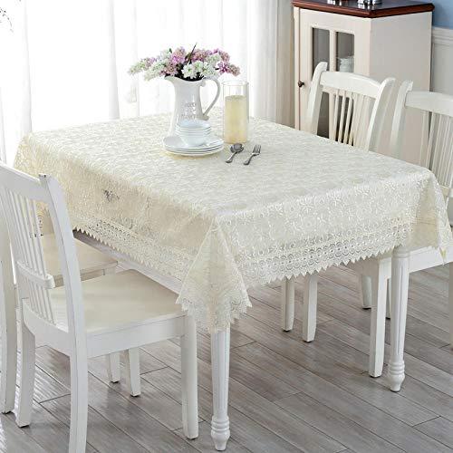 Creek Ywh tafelkleedenset met tafelkleden en servetten voor feestjes en verjaardagen, tafelkleden van kant, zuiver wit, vers tafelkleed voor thuis of in de tuin, kleine doek