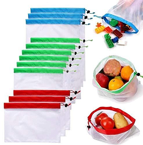 Polyester-Stofftasche für Obst und Gemüse, mit Kordelzug, umweltfreundlich, 12 Stück