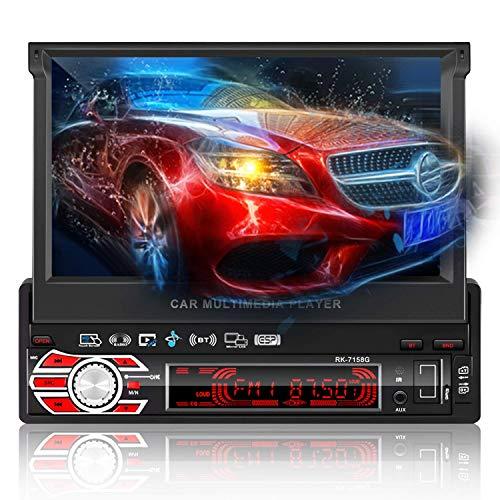 Leshp 1 Din autoradio Bluetooth GPS met 7 inch 1080p uittrekbare touchscreen/handsfree-functie/AM/FM/USB/TF/AUX/achteruitrijcamera/GPS-antenne/8G-kaart