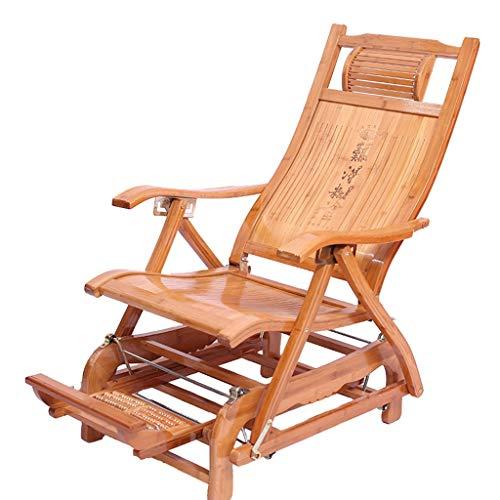 Chaise Zero Gravity en bambou Chaise longue pliante Chaise longue de terrasse inclinable et réglable en hauteur avec repose-pieds massable (Couleur : C)