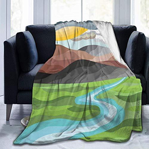 Manta mullida, abstracta, paisaje de montaña, campo, sol, nubes, campo verde y un río, súper suave, manta de forro polar, manta para bebé, dormitorio, cama, TV, manta de 152 x 127 cm