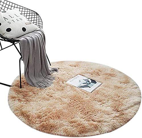 ZHOUZEKAI Alfombra Redonda, Alfombra Antideslizante para el hogar, Adecuado para la decoración de Salas de Estar y dormitorios alfombras oscuras y claras (Color del té con Leche, 80 cm)