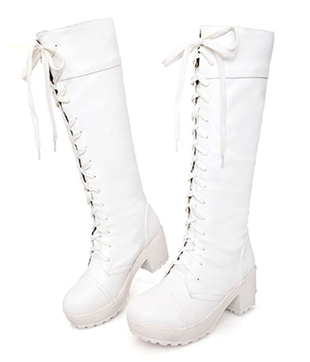 検出する量十億[Aisun] アジアンレディースレースアップLow Heeled Knee High Chunky Boots