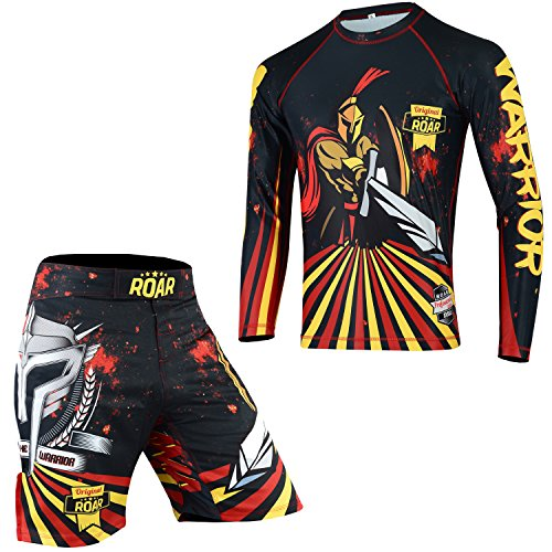 ROAR MMA Rash Guard & BJJ Shorts Set Herren Damen Kampfsport Kinder Grappling Training, Herren, Battle-2pcs-set, XLarge