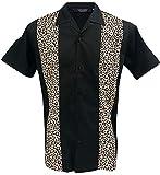 Camisa casual Rockabilly Fashion Para Hombre Retro Bowling Collar Clásico Leopardo Negra (L)