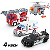 4 Pack Friction Powered City Hero Play Set Including Fire Engine Truck, Ambulance, Police Car and Helicopter Emergency Vehicles with Light and Sounds / Sirens