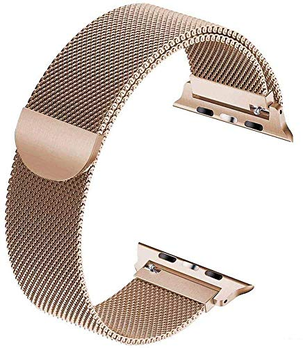 VIKATech Replacement Strap Compatible with Apple Watch Strap 40mm 38mm, Stainless Steel Replacement Bracelet Strap for iWatch Series 6/5/4/3/2/1 Gold