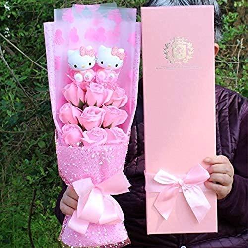 Lovely Cat Vinyl Action Figure Dolls Toy + zeep rozen boeket bloemen Cartoon Creative Valentijnsdag Multi