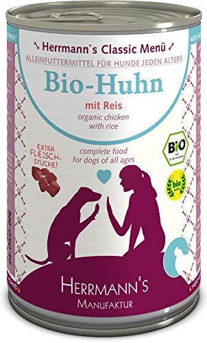 Herrmanns Bio Hundefutter Huhn Menu 1 mit Reis, Karotte, Leinoel 400 g, 12er Pack (12 x 400 g)