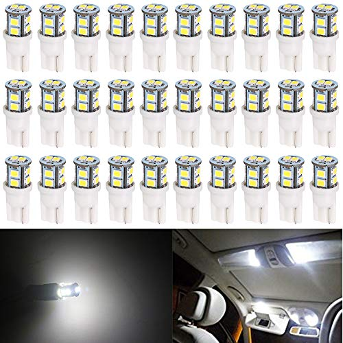 30-Pack T10 194 168 2825 175 W5W White Extremely Bright 10-SMD 2835 LED Light 12V Car Replacement Bulb for Map Dome Courtesy Side Marker License Plate Light