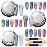 Artdone 3jars holographic nail powder chrome 1gram each,unicorn holo rainbow mirror effect 20um 35um 65um nail pigment kit for nail gel polish dipping nail art crome set