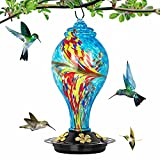 KGDJS Hummingbird Feeder for Outdoors, 42 oz Large Hand Blown Glass Humming Bird Feeder, Leakproof Humming Wild Bird Feeders for Outdoors Hanging with S Hook, Brush, Hemp Rope