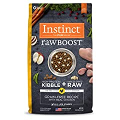 GRAIN FREE DOG FOOD WITH FREEZE DRIED RAW CAGE FREE CHICKEN: Instinct Raw Boost natural dry dog food combines high protein, grain free kibble with all natural bites of freeze dried raw chicken. Cage free chicken is the #1 ingredient. NATURAL DOG FOOD...