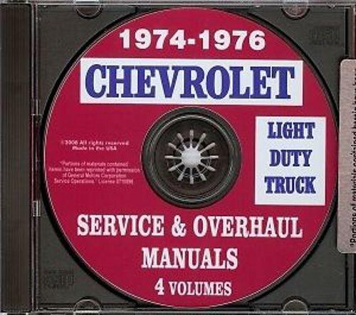 COMPLETE & UNABRIDGED 1974 1975 1976 Chevy Truck Shop Manual CD Pickup Blazer Suburban Van Chevrolet