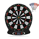 fine_fine Electronic Darts Target, Electronic Dartboard with LCD Scoring Displays, Plastic Alloy Multiplayer Dartboard for Commercial or Home with 6 Safety Darts (Multicolor)