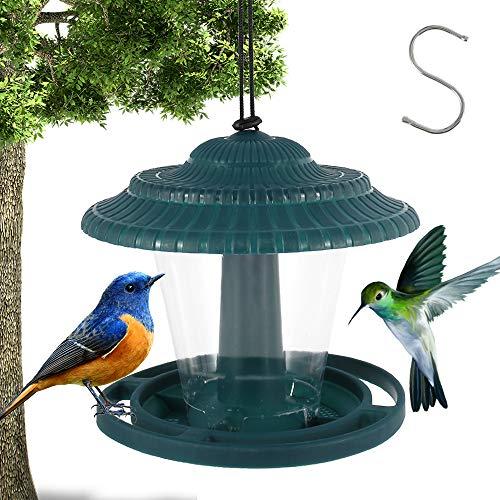 Bird Feeder, Plastic Hanging Wild Bird Feeder Station with Rainproof Roof for Outdoor Garden Yard Patio Backyard Decoration (Green)