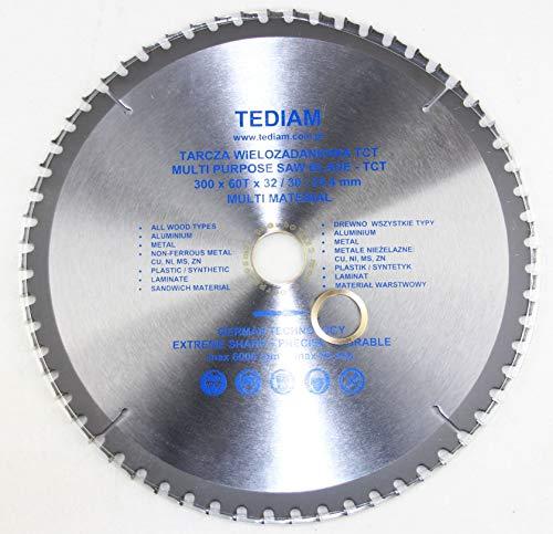 Hoja de sierra circular de alta calidad para madera, 300 x 32-30 mm, 60 dientes