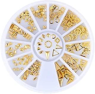 12 Designs Rhinestone Nail metal rivets,Box 8 cm gold and silver 230 Nail art metal rivets