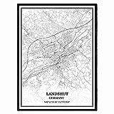 Landshut Deutschland Karte Wandkunst Leinwand drucken