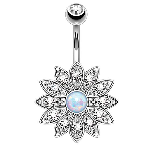 BodyJ4You Belly Button Ring Flower Paved White Created-Opal Stone 14G Navel...