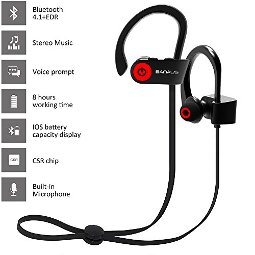 Banaus ® P2 - Auricolari sportivi Bluetooth senza fili per iPhone 6, 6S, 7, 7E e per telefoni Android