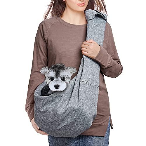 AOFOOK Dog Cat Sling Carrier, Adjustable Padded Shoulder Strap, with Zipper Pocket for Outdoor Travel