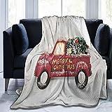 Red Truck with Christmas Tree Sherpa Fleece Blanket Comfy Premium Winter Flannel Throw Blanket Comfortable Fleece Noon Break Blanket Durable Office Lap Blanket Warm Sofa Blanket for All Season
