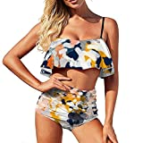 Bikini acuarela pintura traje de baño para las mujeres traje de baño de dos piezas vacaciones más tamaño volantes Strappy Halter Set, Blanco-estilo1, 52
