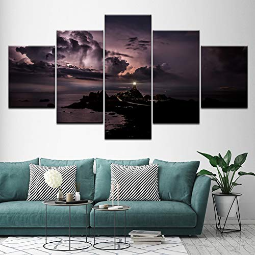 ZSYNB 5 Canvas foto's canvas schilderij zee Vision platform met donkere hemel 5 stuks modulaire muurkunst muur achtergronden poster gedrukt voor woonkamer huis decoratie