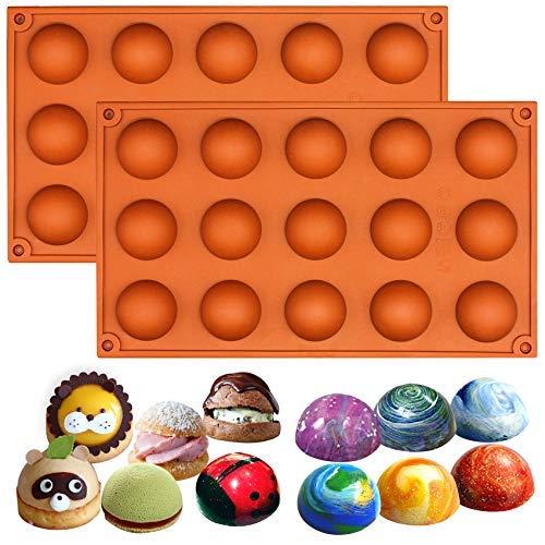 Lot de 2 moules Musykrafties - En silicone - Formes de demi-sphères - Pour petits gâteaux, Silicone, aléatoire, Small