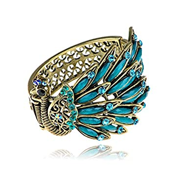 Alilang Womens Antique Golden Tone Peacock Bracelet Bangle With Turquoise Blue Gems