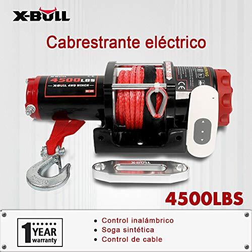 X-BULL 12 V Kunststoff-Seil Elektrische Seilwinde 4500 LBS/2041 KG Winch 10 Meter Wireless ATV 4WD