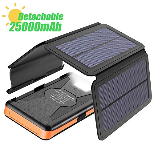 Solar Charger X-DRAGON 25000mAh Portable Power Bank with 4 Solar Panels Waterproof External Backup Battery Pack with Dual USB Outputs & Inputs, LED Flashlight for Smartphones, Tablets and More