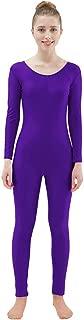 Womens Spandex Bodysuit Long Sleeve Scoop Neckline Footless Unitard