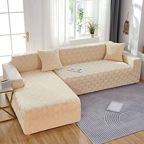 HALOUK Funda para sofá Chaise Longue,2 Pieza Funda de Sofá en Forma de L Elástica Poliéster Spandex Protector de Muebles Cubre Sofá con Funda de Almohada de 2 Piezas-Beige-3+5 Plaza