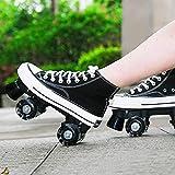 XRDSHY Patins roulettes Gang Élevé Toile Quad Roller Skates pour Hommes Et Femmes,Patins À Double Rangée pour Les Enfants Débutants Intérieur Extérieur,Black-39