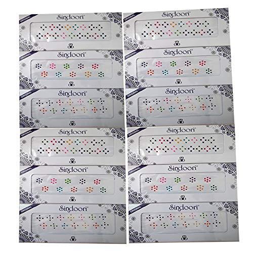 Sindoori Fancy Bindi Collection for Women - Reusable Bindi - Pack of 12 (Multicolor Small Dot Bindi - Plain Round)