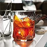 Cassiopea Double Retro-Gläser, 410 ml, 4 Stück, einzigartige geometrische Rocks Whisky Glas
