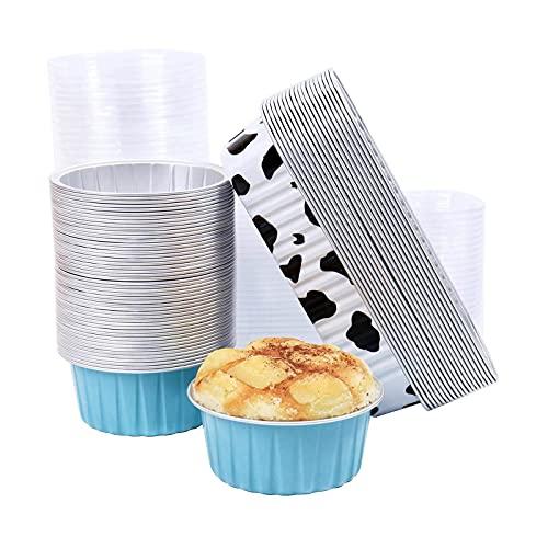 Disposable Cake Pans, Aluminum Cups for Baking, Dessert Containers with Lids 50Pcs 125ML Round Blue & 20Pcs 200ML Rectangular Cow Color. (70PCS)