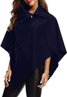 Afibi Women's Solid Wool Hooded Turn-Down Poncho Jacket Cloak Coat