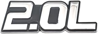 Stlei Store Auto Styling Metal 2.0L Letter Sticker Auto Badge 3D Decal Auto Accessoires (Color : Silver With Black)