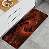 LZCsjhn Kitchen Rug,Digital Fractal Image with Swirling Turning Moving Floral Lines Modern GraphicThick Non Slip Waterproof Heavy Duty Mat for Kitchen 17.7x47.2 inches