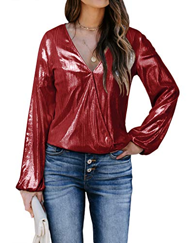 YOINS Blusas Metálicas Sexy Top Mujer Glitter Camisetas de Manga Larga Brillante Tops Cuello V Club Fiesta Moda Vino Rojo XXL